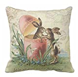 Pillow Cases Standard Size 18x18 - Vintage French Easter Bunnies