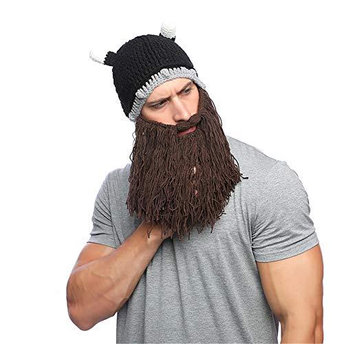 Qingsun Lustige Beard Hut Hörnern Mütze mit Bart Tiermütze Wintermütze Strickmütze cosplay Hut