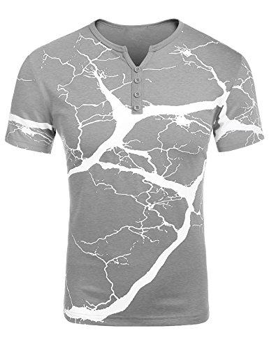 zeela Herren T-Shirt mit Knopfleiste Kurzarmshirt V-Ausschnitt Slim-Fit Casual Henleyshirt
