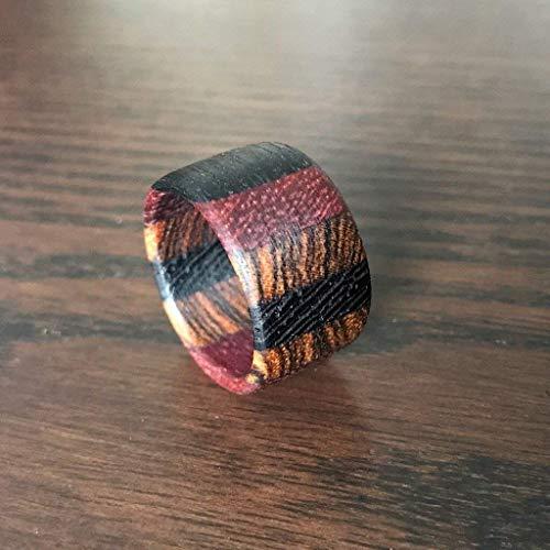 Holzring (Größe 54/17,2mmø) Handarbeit Ring Edelholz Amaranth Bocote Mooreiche Wenge Natur -