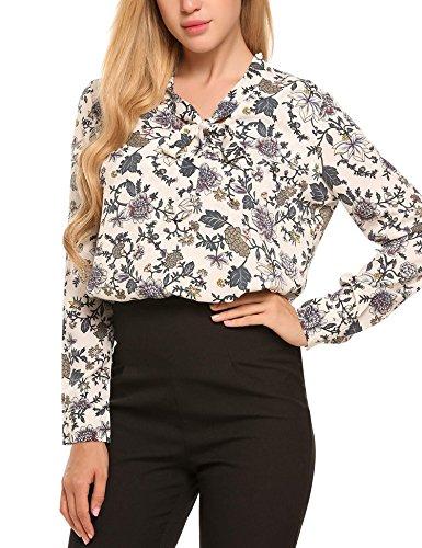 Ceanfly Damen Chiffonbluse Elegant Bluse Festlich Langarm Hemd Schleife V Ausschnitt Business Oberteil PAT2