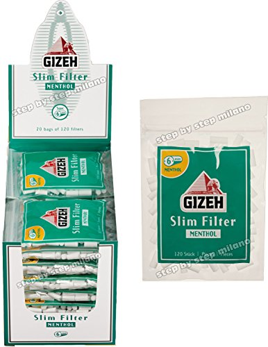2400 Filtri Slim GIZEH 6mm al MENTOLO 20 BUSTE da 120 Filtri