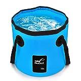 Faltbarer Eimer, 12L Tragbar Waschbecken Multifunktions Falteimer Wasser Vorratsbehälter für Auto...