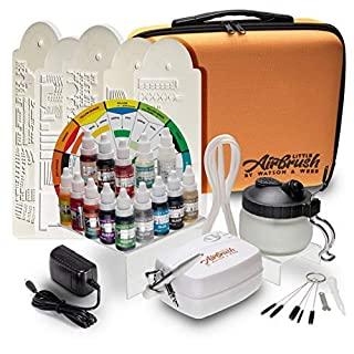 Airbrush Cake Decorating Kit | Watson & Webb Little Airbrush Including 13 Colours | Stencil | 1 x Airbrush Cleaning Solution and Pot | Cleaning Brushes | Colour Wheel & Case