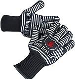 Grill Heat Aid Grillhandschuhe & Ofenhandschuhe – hitzebeständig bis 500 Grad – Kochhandschuhe & Hitzeschutzhandschuhe zum Grillen, Kochen & Backen – 1 Paar Hitzeschutz Handschuhe in Grau