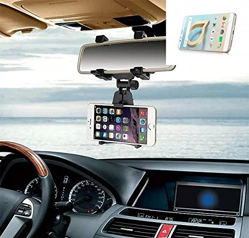 K-S-Trade Für Alcatel A7 XL Smartphone Halterung Rückspiegel Halterung schwarz Auto Halterung für Alcatel A7 XL Spiegel KFZ Halter