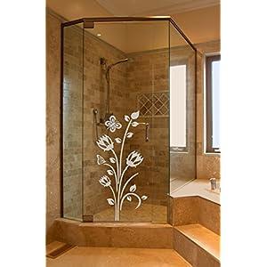 GD120 Sichtschutz Aufkleber Glasdekorfolie Dusche, Glasdekor aus wasserfester Glasdekor Folie / Fensterfolie, Badezimmer WC Bad Duschwand