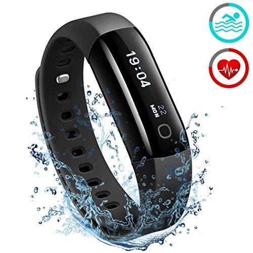 Fitness Armbänder;Mpow IP68 Wasserdichte Smart Fitness Armbänder mit Pulsmesser, OLED Bildschirm Herzfrequenz Monitor Aktivitätstracker Pedometer für Android iOS Smartphones z.B. iPhone 7/7 Plus/6S/6/5/5S, Samsung S8/S7, Huawei, LG, Sony, schwarz.