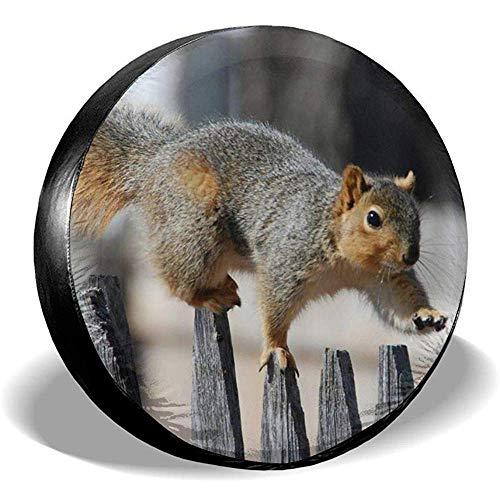 Fun-World Spare Tire Cover Eichhörnchen auf einem Zaun Sonnencreme Universal Reserverad Reserverad Abdeckung für Anhänger Rv,SUV,Camper 15 Zoll