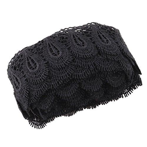 sourcingmap Polyester ausgehöhlt Design DIY Kleid Spitze Verkleidung Schwarz 2,2 Zoll Breite