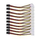 Rrimin 10PCS Molex (4 Pin) to PCI-E (6 Pin) Power Converter Adapter Connector 15CM Length
