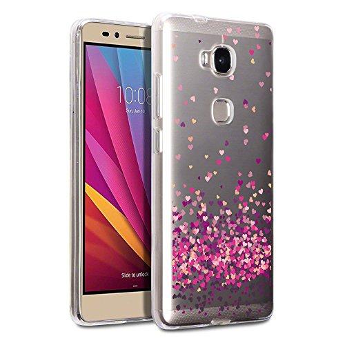 Hülle für Honor 5X Cover , Wenjie Farbe Liebe Silikon Handyhülle Schutzhülle für Huawei Honor 5X 5.5