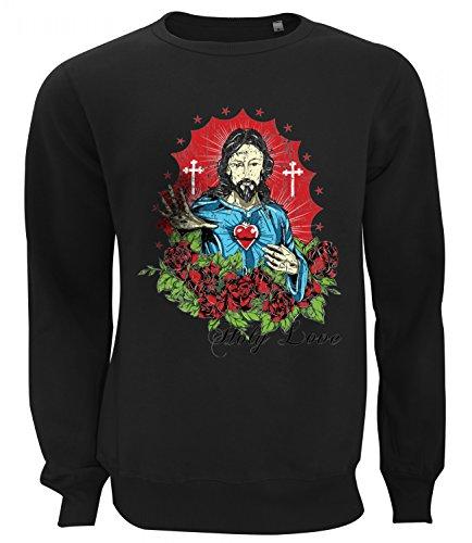 Three Monkeys Jesus Holy Love Abstract Art Women's Unisex Sweatshirt Nero Small