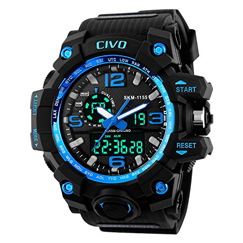 CIVO Mens Boys Analogue Digital Sport Watch 50M Waterproof Military Multifunction Wrist Watch Men Dual Dial Big Face Casual Business LCD Back Light Electronic Shock Resistant Sports Watches (Black)