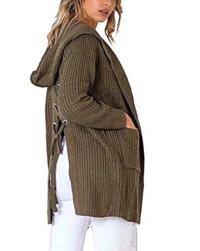 Tomwell Femmes Chandail Veste Casual Knit Sweater Kimono Cardigan À Manches Longues Ouvertes Avant Extérieur avec Poches Manteau Armée verte
