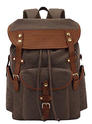 La vogue sac à dos toile simili cuir casual école voyage sport unisexe (café)