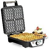Andrew James Belgian Waffle Maker, 4 Slice, 1100 Watts, Adjustable Temperature (Stainless Steel)