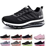 Herren Damen Sportschuhe Laufschuhe mit Luftpolster Turnschuhe Profilsohle Sneakers Leichte Schuhe Gray Pink 38