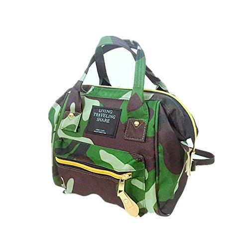 Amoji Kleine Größe three-purpose Rucksack Canvas Tote Cross-Body-Tasche Messenger Bag mit Stahl Rand für den täglichen Gebrauch, camouflage -