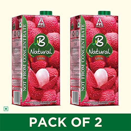 B Natural Litchi Juice 1L, (Pack of 2)