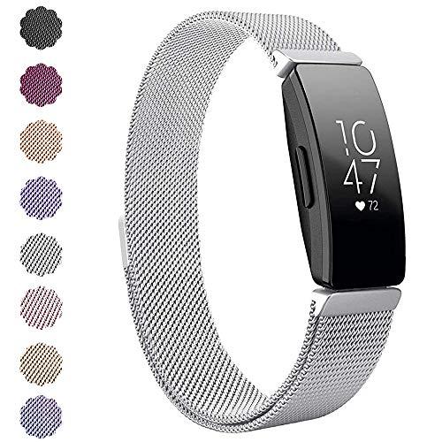 """KIMILAR Kompatibel Fitbit Inspire & Inspire HR Armband Metall, Ersatz-Armbänder Verstellbare Metal Band Magnet Armband für Fitbit Inpsire & Inspire HR Fitness-Tracker (5.5\"""" - 8.5\"""", Silber)"""