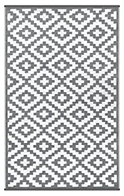 Green Decore Nirvana Light Weight Reversible Indoor Outdoor Eco Rug, 70 x 180 cm, Grey / White produced by Green Decore - quick delivery from UK.
