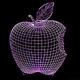 Veilleuses 3D, Veilleuses à distance Apple 3D Veilleuses Créatives Illusion...