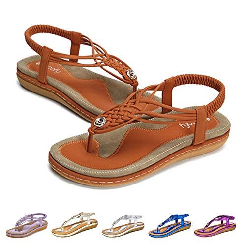 Camfosy Damen Flach Sommer Sandalen,Frauen Strand Elastischen Gemütlich Webmuster Schuhe Knöchelriemchen FreizeitUrlaub rutschfest Sommerschuhe - Schwarz Blau Beige Brown 39 EU -
