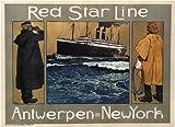 Vintage Travel Amerika mit Rot Star Line für Krone