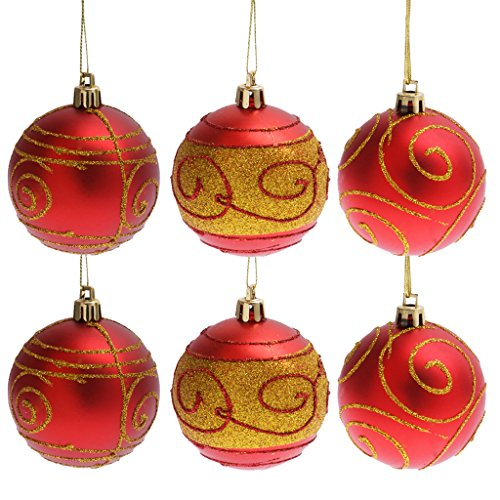 6pcs Luxus Weihnachtskugeln Kugeln Christbaumschmuck Hängende Verzierungen 6cm - Rot
