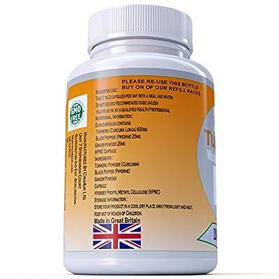 Turmeric & Black Pepper & Ginger Capsules 360 | Chia4uk Ltd| HIGH STRENGTH 650mg |360 3 x 120 bottles Veg Capsules in Bottle | Made In the UK| Great For Joint Pain and Arthritis Relief