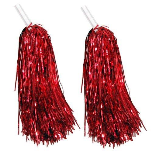 SODIAL(R) 1 paire de pompons pour supporteurs/majorette En rouge