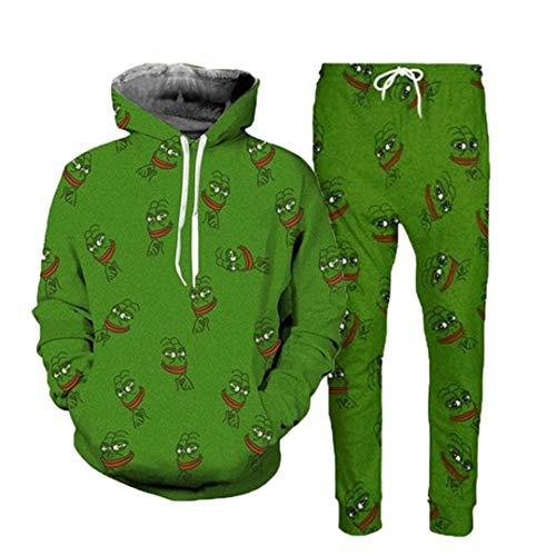 Vieryyes 3D Pepe Frog Hoodies AnzüGe Unisex Hoodies Sweatshirt Joggers Pants 2Pcs Men Sets XXL