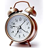 SHOPPOWORLD Analog Twin Bell Copper White Edition Vintage Look Table Alarm Clock with Night Led Display Copper Table Alarm Clock