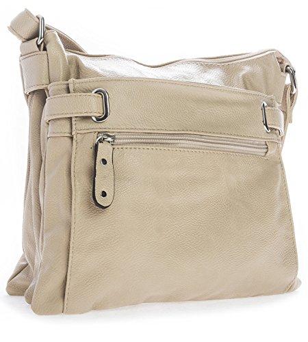 BHBS Mittelgroße Damen Schultertasche mit Mehreren Taschen Umhängetasche 27x27x4 cm (BxHxT) Licht Beige