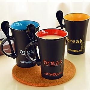 Zomaark Matte Finish Ceramic Mug with Spoon, 400ml (Color May Vary)