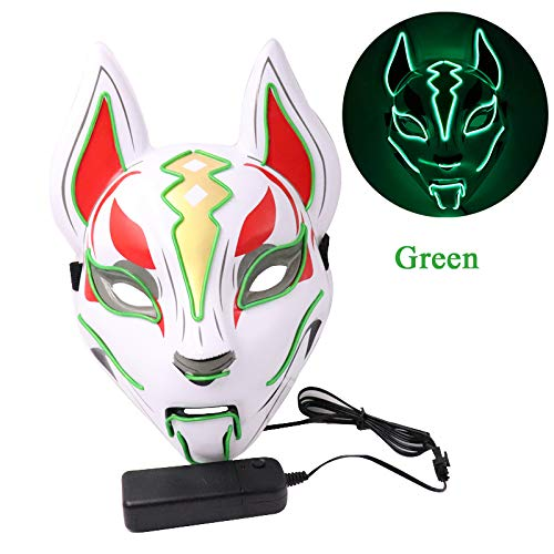 HHSJL Halloween Leuchtende Maske Fox Drift Maske Kopfbedeckung LED Leuchten Masken für Party Cosplay Halloween Karneval Nacht Kostüm Requisiten,D (Kostüm D'halloween Fille)