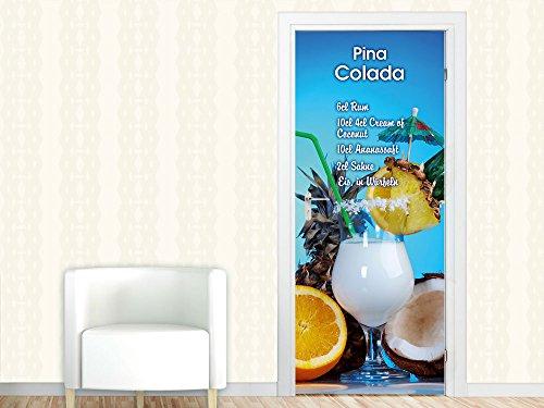 e Türfolie für Küche Rezept für Pina Colada Cocktail Glas (67x213cm) (Ananas-rum-drinks)