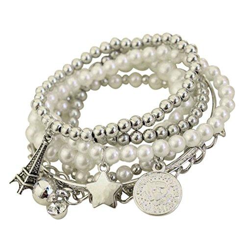 Emorias 1 PCS Bracelet pour Femme Tour Eiffel Perle Bijoux Amateur Cadeaux Bracelet de Femme en Alliage Bijouterie Accessoires