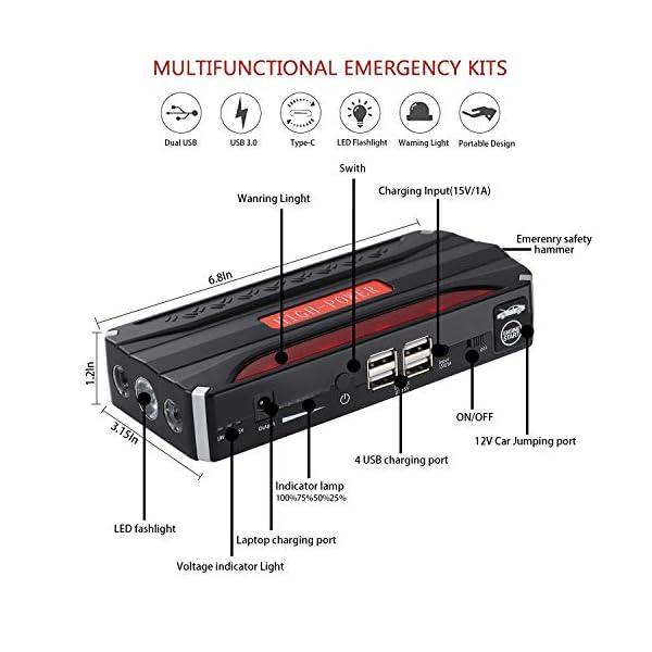 Arrancador de Coche – 800A 10000mAh Arrancador Batería Coche (para Vehículo de o 7.0L de gas o 5.0 Diesel) Arranque Batería Portátil con Puertos de 4 Carga Dual, LED Linterna(Negro)