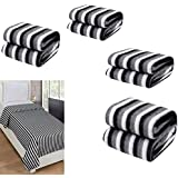 Peponi Pack Of 6 Black And White Stripe Single Bed AC Fleece Blanket (Size :Single :60X90 Inch)
