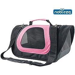 Nobleza 030088 Bolso transportín de tela oxford para perros, gatos o animales pequeños. Grande, Color Rosa. Largo 45 cm