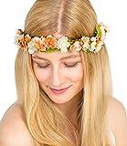 """SIX """"Blumen"""" Haarband, Haarreif, Kopfschmuck, Blumenkranz mit kleinen Blumen orange nude mit rosanen Band Knoten zum Verschließen, Festival (456-268)"""
