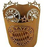 Metallmichl Edelrost Fußball Fan-Artikel FC Bayern München Feuerkorb/Feuertonne. Höhe 50 cm Durchmesser 39 cm mit Logo FC Bayern München. Lizenzierter Fanartikel des FC Bayern MÜNCHEN