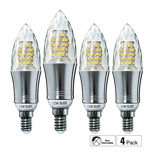 Hzsane E14LED Kerze Leuchtmittel 12W, entspricht 100W Glühbirnen, 3500K warm weiß Kandelaber E14SES Leuchtmittel, nicht dimmbar, 1200lm, LED Leuchtmittel, kleine Edison Schraube Kerze Leuchtmittel, Kristall Gehäuse, 4-Pack Kleine Kristall-leuchte