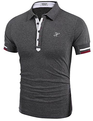 HOTOUCH Herren Poloshirt Polohemd Slim Fit Hemd Polo Shirt Kurzarm Dunkelgrau