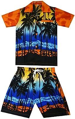 Original King kameha | Funky Hawaii Camisa y pantalones | 2piezas Cabana | Niños | 2–8años, Print | Mar de palmeras de Hawaii, color naranja