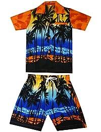 Original King Kameha | Funky Cabana Set Hawaienne | Enfants | 2 – 8 Ans | Chemise et Pantalon| Hawaiian-Imprimer | Plage Palmiers Mer | Orange