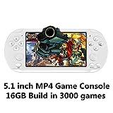 CZT Pantalla de 5.1 Pulgadas 16GB Videoconsola Retro de 128 bits Consola integrada 3000 Juegos para Arcade NEOGEO/CPS/FC/NES/SFC/SNES/GB/GBC/GBA/SMC/SMD/Sega Consola portátil de Juegos MP3/4 (White)