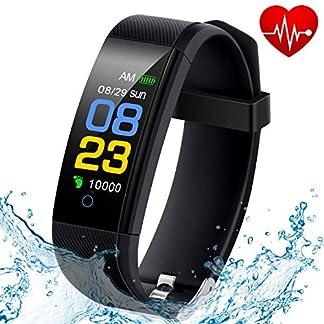 Fitness Tracker Waterproof, Activity Tracker Watch con monitor de ritmo cardíaco, banda inteligente con monitor de presión arterial, contador de calorías, monitor de sueño, podómetro para niños, mujeres y hombres